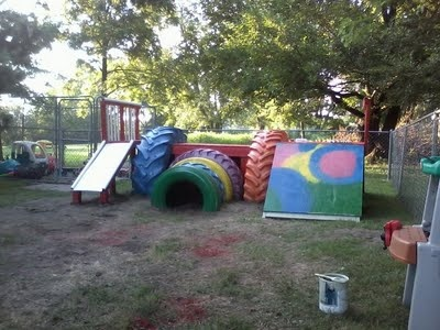 The old tire gym we built for my daughter 39 s daycare for Tire play structure