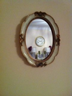 pale olive and gold ornate mirror