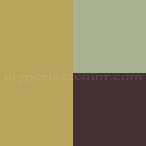 Benjamin Moore Wasabi (gold) Seedling (blue/gray) and Caponata (brown)