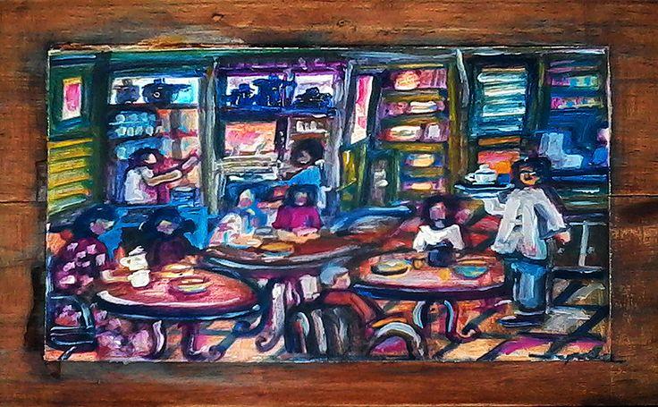 Yucca RoseToko Kopi dan Teh Painting, Wooden tea box, Art