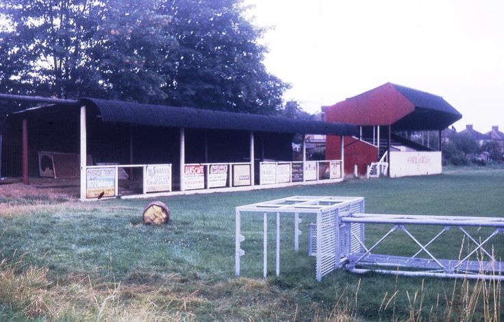 Harrow Borough's Earlsmead in 1973, showing the old stand and the yet to be erected floodlights. Pic Bob Lilliman.