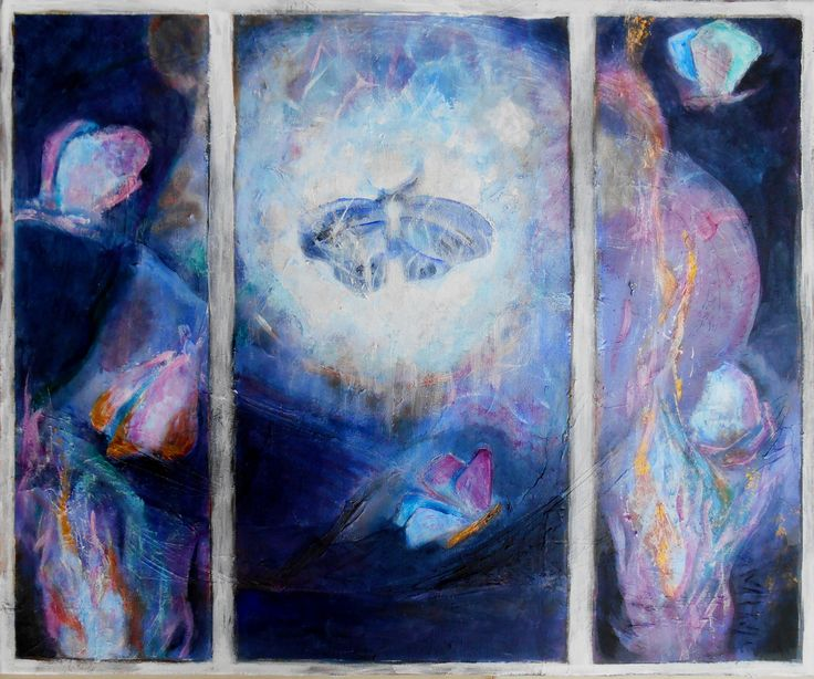 """the poem of the butterflies"" by Eva Danese.  ""The people of this world are like the three butterflies in front of a candle's flame.  The first one went closer and said,  ""I know about love""  The second one touched the flame lightly with his wings and said,  ""I know how love's fire can burn""  The third one threw himself into the heart of the flame and was consumed. - Attar of Nishapur (1142-1220)"