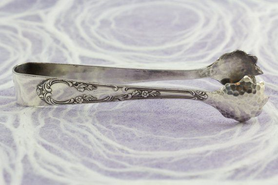 Sugar tongs, silver plated, rococo, roses, small tongs, pliers, sugar, tea, silver plated tongs, silvered cutlery, vintage flatware