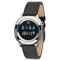 El Reloj The One Zerone está fabricado en cuarzo, caja de acero inoxidable y correa de piel negra. The One Zerone es un reloj binario con sistema de lectura de leds azules y dial de cristal mineral. www.relojes-especiales.net