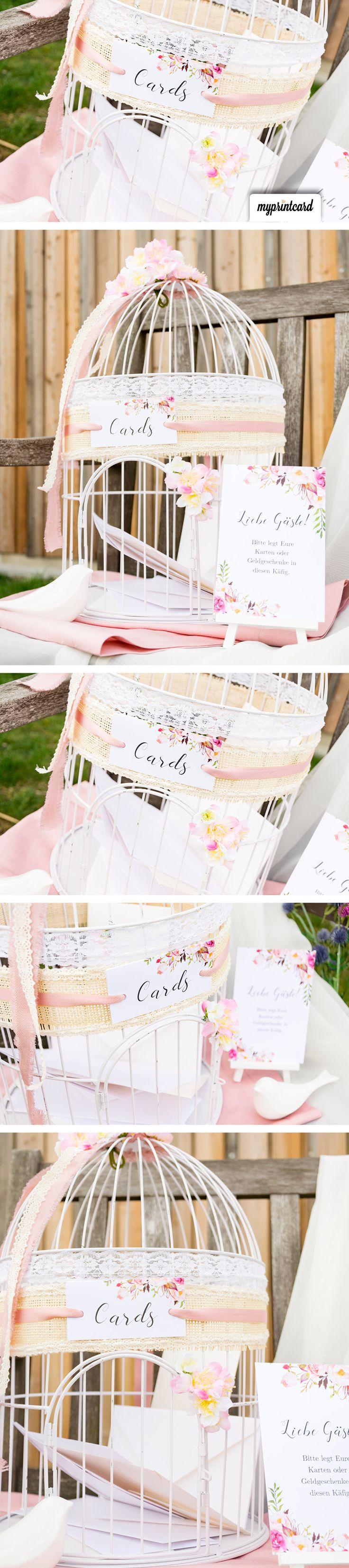 Wedding Card Box als vintage Vogelkäfig ist schnell selbst gebastelt. #weddingcardbox #briefbox #vintage #rustikal #hochzeit #braut #bräutigam #basteln #diy #selbermachen #blumen #vogelkäfig
