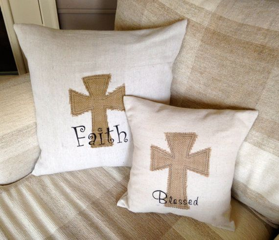 Etsy Shabby Chic Throw Pillows : Blessed monogram canvas and burlap cross pillow, throw pillow, decorative pillow,shabby chic ...