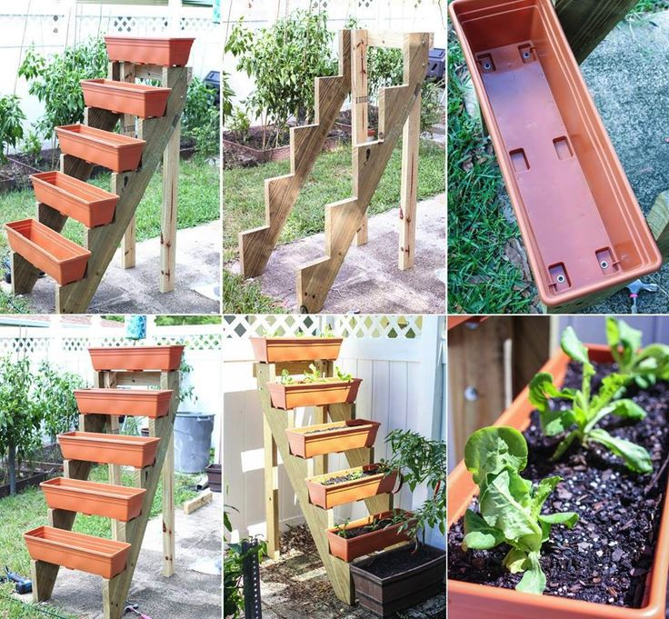 This is a very cute  simple vertical garden idea I think can even get the stair risers already cut at Home Depot m going to make mine an herb 7 best Garden Inspiration images on Pinterest Backyard ideas