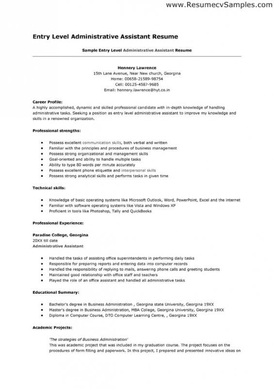 Sample resume administrative assistant entry level