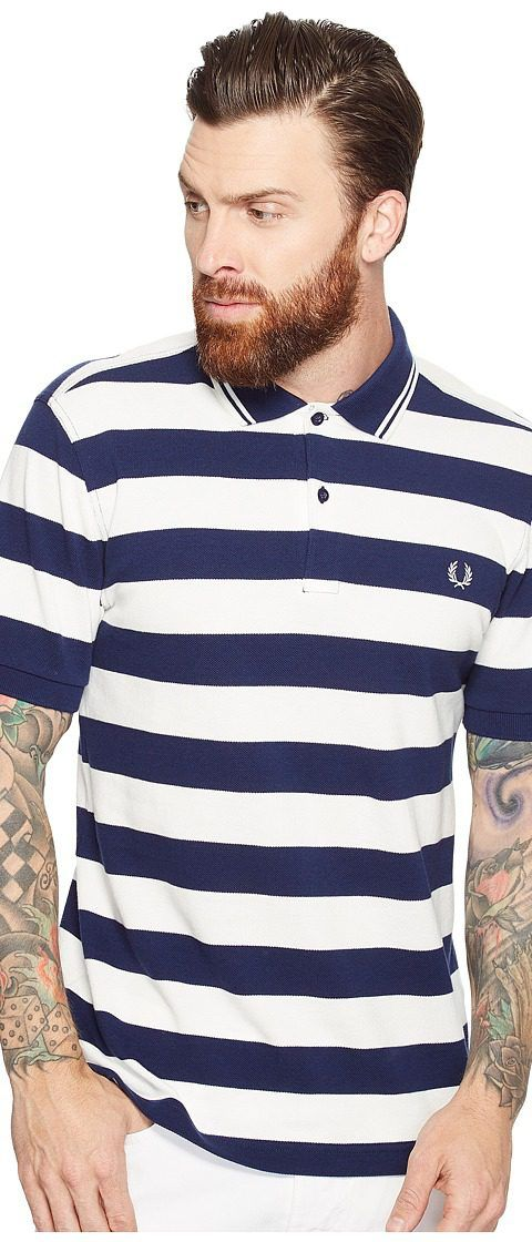 Fred Perry Striped Pique Shirt (French Navy) Men's Clothing - Fred Perry, Striped Pique Shirt, M1587-143, Apparel Top General, Top, Top, Apparel, Clothes Clothing, Gift, - Street Fashion And Style Ideas