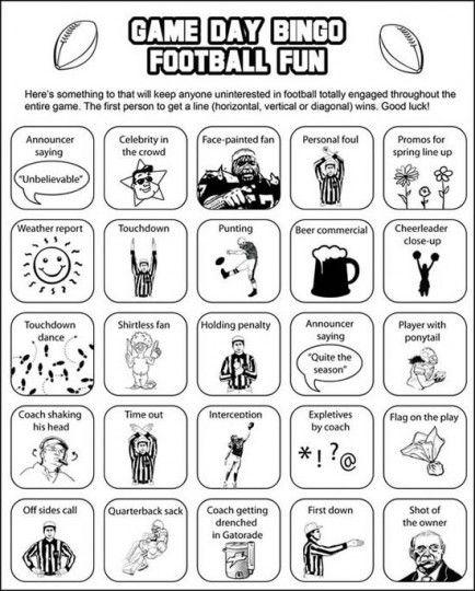 Football fun Bingo! 17 Sweet Super Bowl Party Ideas via Babble #superbowl