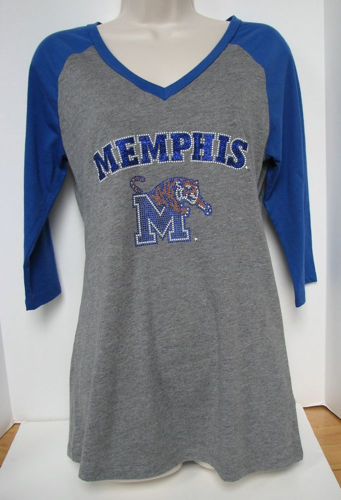 Memphis Tigers Women Shirt XL NEW with tags NWT 3/4 Raglan Sleeve Blue Gray #Summit #MemphisTigers