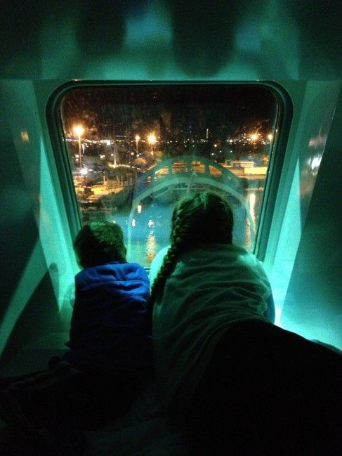 "Kathryn Scott - ""The kids watching the ship dock in Melbourne from our cabin, an amazing experience."""