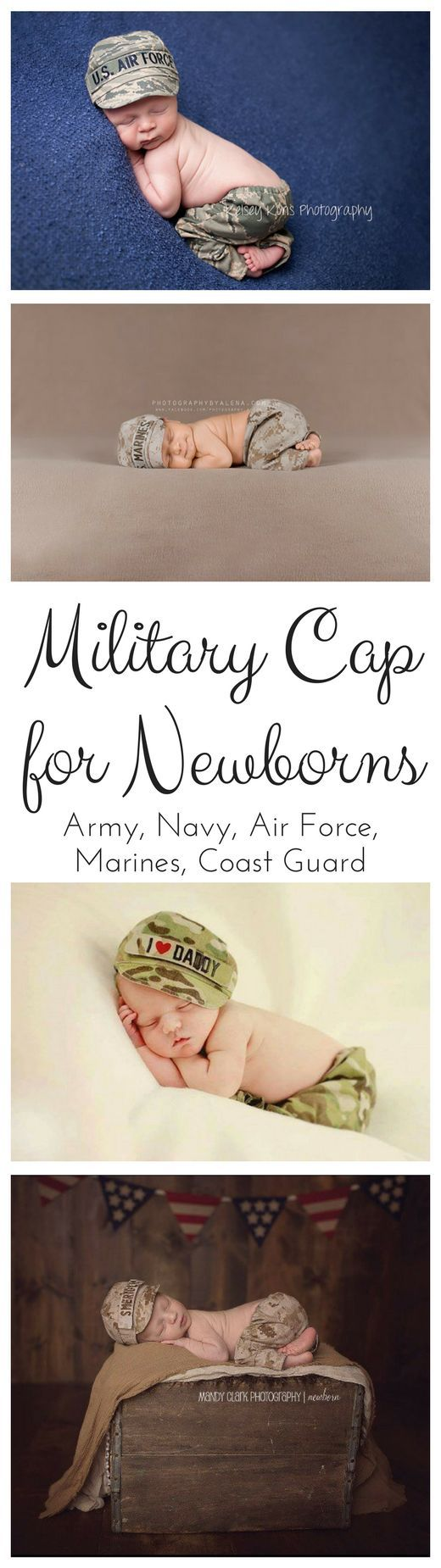 Adorable military hats and pants for newborn photos!  Even available for Navy #newborn #portraits #army #navy #marines #coastguard #airforce #affiliatelink