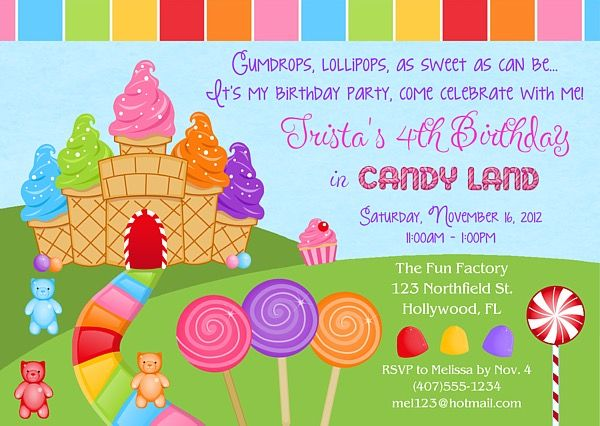 Candy Land Birthday Party Invitations