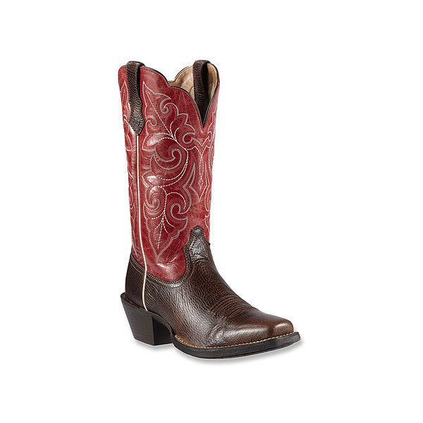 Ariat Round Up Square Toe Boots ($150) ❤ liked on Polyvore featuring shoes, boots, cowboy boots, square toe cowgirl boots, western cowgirl boots, tall western boots, tall cowboy boots and cowgirl boots