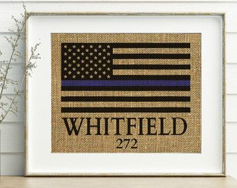 Police Officer Gifts - Thin Blue Line Flag PRINT - Badge Number - Police Officer Badge Print - Police Gifts - Police Officer Decor - Badge
