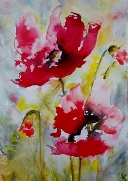 """Saatchi Online Artist Karin Roetsch Johannesson; Painting, """"Red Poppies"""" #art"""