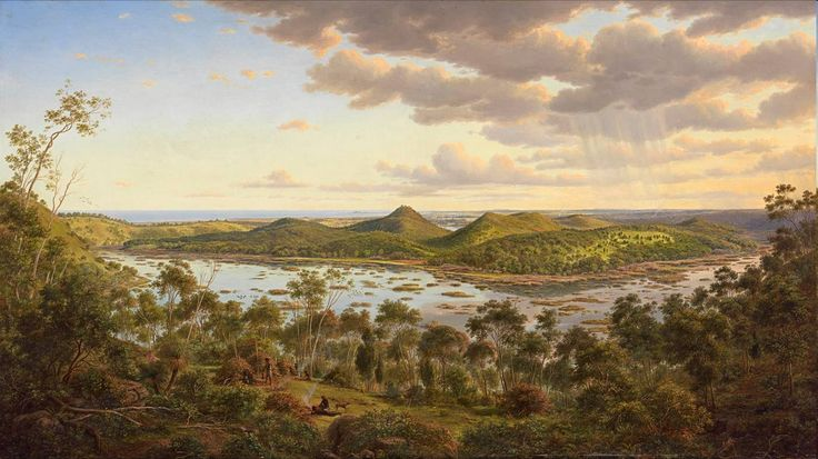 Eugene von Guerard and Thomas Clark both arrived in Australia in the early 1850s yet they depict land in quite different ways. Von Guerard (1811-1901) painted 'Tower Hill' as an idyllic landscape where the Aboriginal group, shown in the foreground, appear to live in a latter-day paradise. Between the contrast of the detailed foreground and the distant horizon one senses the artist's desire to explore this unknown land.