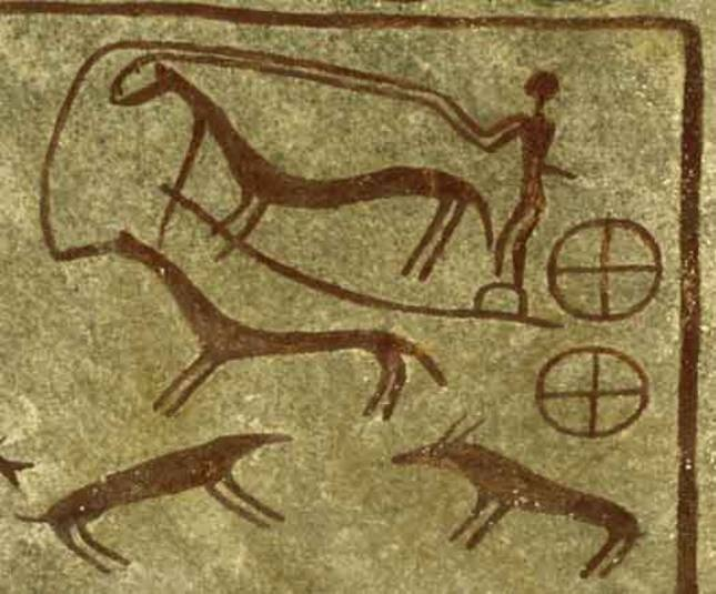 Rock carving of a chariot pulled by two horses from Kivik grave in Skåne