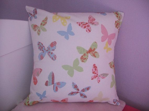 Butterfly Cushion Cover 37cm x 37cm Shabby Chic 14.5 x by TyCwtch, £7.00