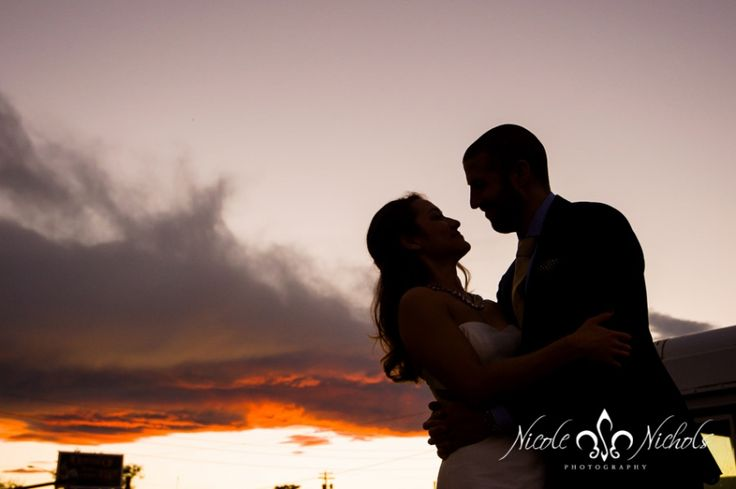 wedding picture at sunset at Infinite Monkey Theorem in Denver