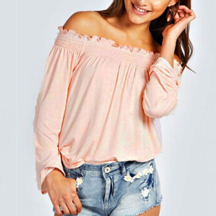 Blusas Femininas New  Spring Autumn Sexy Womens Blouses Ladies Solid Shirred Off Shoulder Tops Casual Blouse Shirts - Pink, XXL Like it? Visit our store