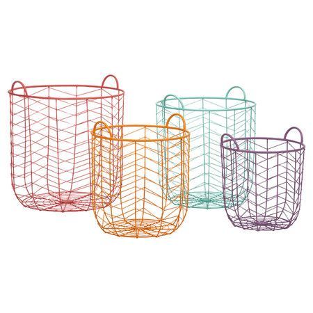 Perfect for stowing scarves in your master suite walk-in or fluffy towels in the guest bath, these charming baskets showcase openwork chevron designs... $146