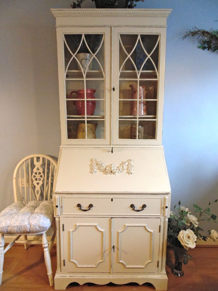 Stunning Writing Bureau with Glazed Cabinet in Farrow & Ball Clunch. Large Rose Swag Moulding Applied. Distressed Lightly.