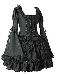 Long Flare Sleeve Short Black Cotton Gothic Lolita Dress – USD $ 119.99