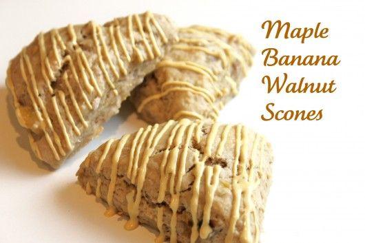 Maple Banana Walnut SconesBreakfast Brunches, Baking Desserts, Scones Createdbydian, Walnut Scones Yummy, Printables Recipe, Scones Recipe, Maple Bananas, Bananas Scones, Bananas Walnut