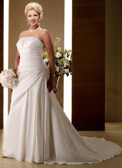 Grande taille robe de mariée perles et broderie robe en moussel