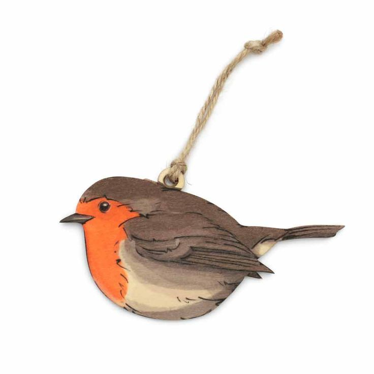 Hang this pretty decoration in a window or on a wall as a lovely reminder of Britain's much-loved garden visitors. Beautifully crafted in wood, the decoration is hand-printed in colours that capture the charm of the robin to perfection. Supplied with rustic string for hanging, it's a lovely addition to any bird lover's home.