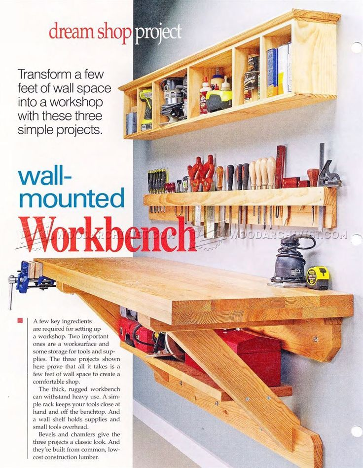 #2118 Wall Mounted Workbench Plans - Workshop Solutions