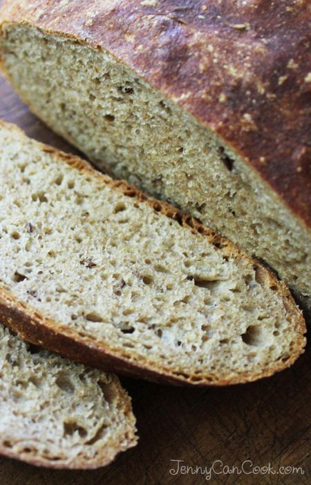 No Knead Rye Bread recipe from Jenny Jones (JennyCanCook.com) - Easy way to make rustic rye bread at home with no kneading.