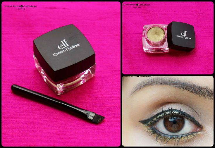 elf Cream Eyeliner Golden Review Swatches & EOTD http://www.heartbowsmakeup.com/elf-cream-eyeliner-golden-review-swatches/