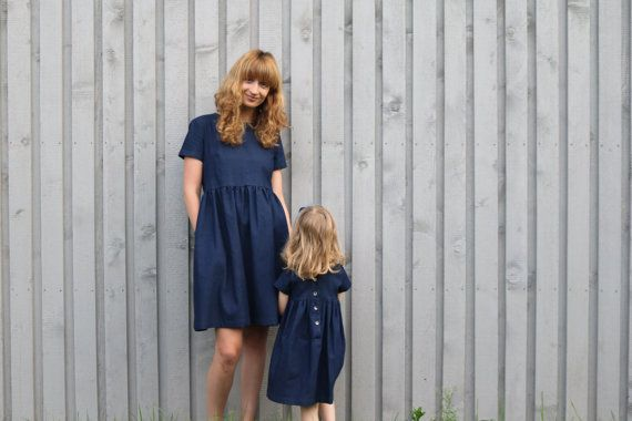 Matching mother and daughter indigo blue denim dresses. -------------------------------------------------------------------------------------------------------- ABOUT: These beautiful mother-daughter dress sets are handmade in our studio. Like mother, like daughter dresses are made from a cotton fabric. Suitable for spring - summer and autumn - winter seasons for women and girl. -------------------------------------------------------------------------------------------------------- DESCRI...