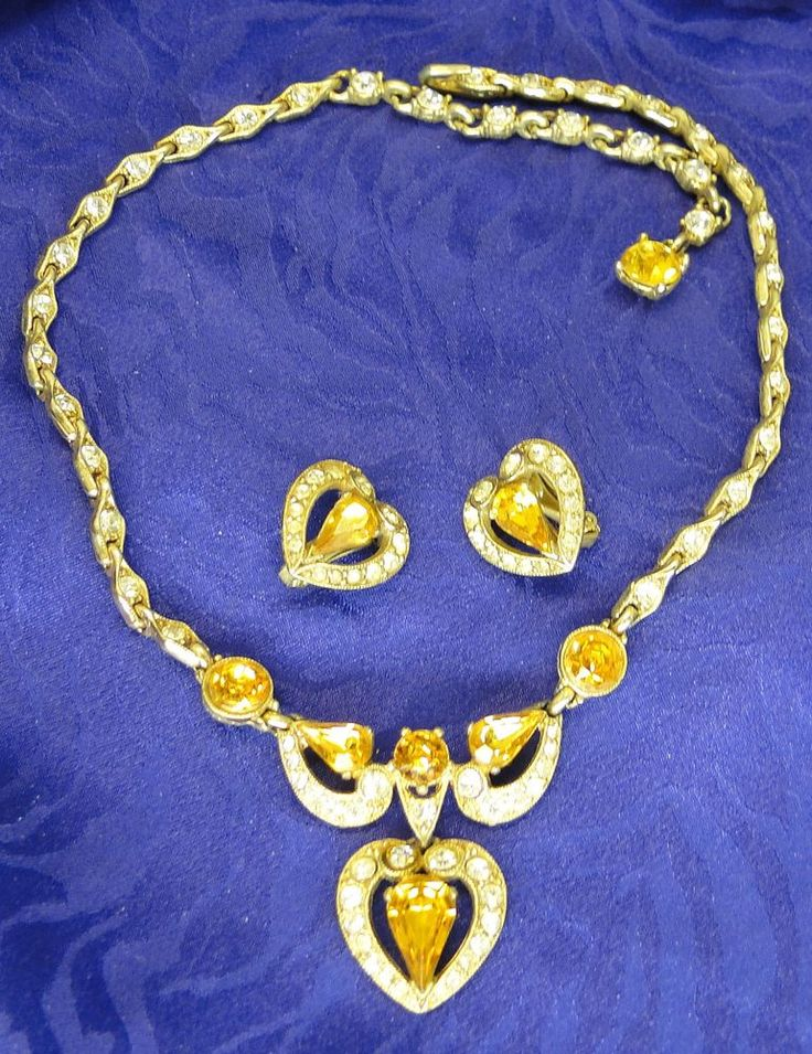 Vintage signed bogoff necklace bracelet earrings amber for Bogoff vintage costume jewelry