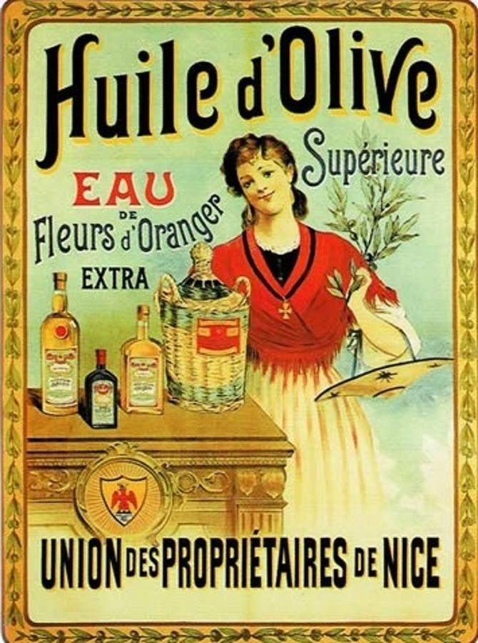 Huile d'Olive, Nice : Plaque décorative rétro en métal représentant l'huile d'olive de Nice. Idéal pour créer une déco dans l'ambiance vintage pour votre intérieur, salon, cuisine ou même dans un restaurant, un troquet, une oliverie ou une épicerie.