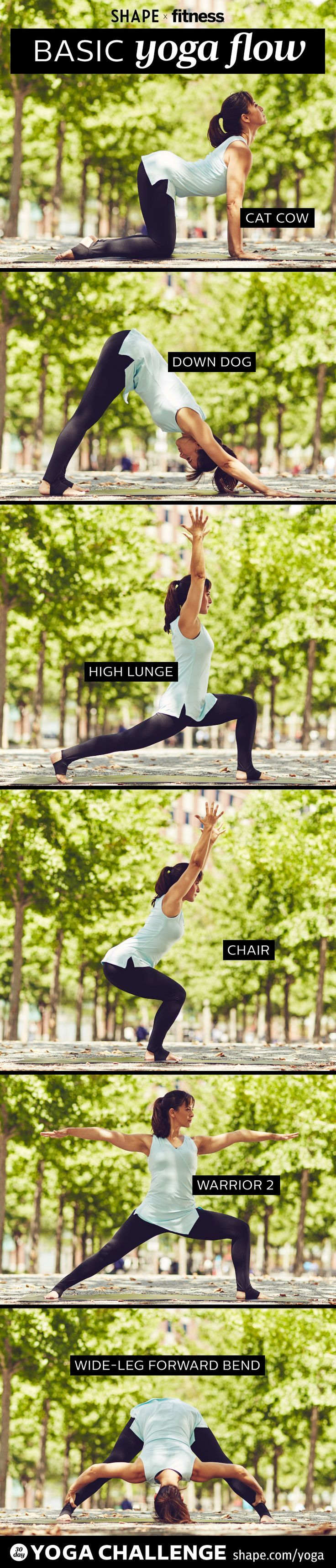 Start your week feeling refreshed and balanced with our Basic Yoga Flow From SHAPE and Two Fit Moms. Flow through each pose at least three times for best results. #yoga