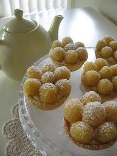golden raspberry custard tarts