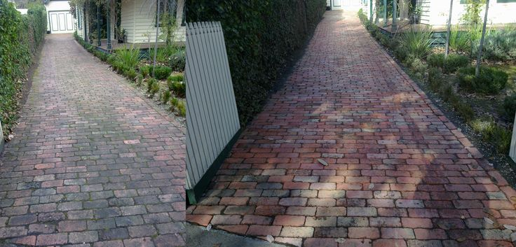 Dirty brick paved driveway and shot after being cleaned by Go Cleaning.