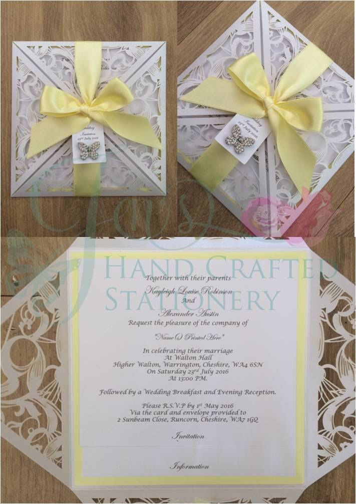 Lemon yellow hand tied ribbon laser cut wedding invitation with diamante butterfly www.jenshandcraftedstationery.co.uk www.facebook.com/jenshandcraftedstationery Hand Made Wedding stationery: Save the date, Wedding invitations, Table Plans, Place Settings, Guest Books, Post Boxes, Menus, Table Numbers/Names