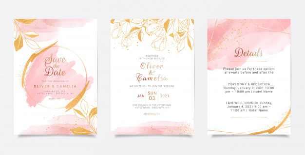 Watercolor Creamy Wedding Invitation Card Template Set With Golden Floral Decoration Wedding Invitation Card Template Wedding Invitation Cards Elegant Wedding Invitation Card