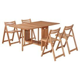 """Wood-framed dining set with 4 chairs that fold and store inside the table.  Product: Table and four chairsConstruction Material: Solid wood frame, rubberwood, plastic casters and engineered woodColor: NaturalFeatures:  Great space saving dining spaceOccupies minimal floor space when foldedIncludes four chairs that fit inside the interior of the table Casters make it easy to move throughout your spaceDimensions: Table: 29"""" H x 13.49-57.5"""" W x 36"""" D Chairs: 30.5"""" H x 19.5"""" W x 17.88"""" D"""