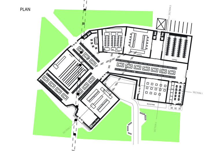 """Patmala Boondej 5434777425 (aj. Pan) """"Meet Meat"""" plan. The Plan shows how the room are arranged within the buildings. The main rooms are in processing plant, which are cutting, thawing, drying curing, packing, and the market hall."""