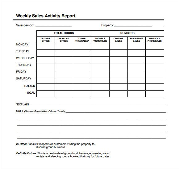 Image result for weekly sales visit report format