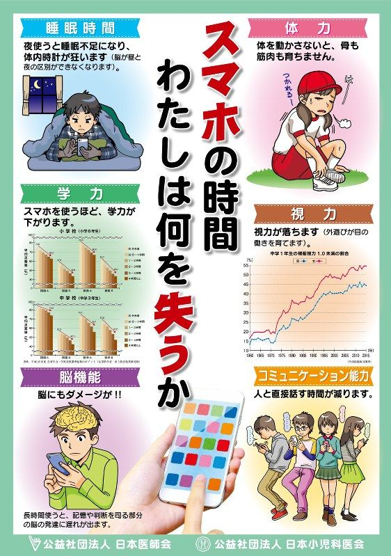 日本小児科医会と日本医師会は15日、「スマホを使うほど、学力が下がります」などと過度のスマートフォンの使用を警告するポスターを作製したと発表した。約17万人の会員に送付し、全国の診療所などで掲出する。