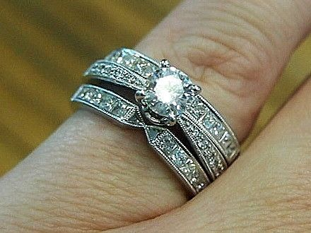 Jewellery-Rings-Designer-18 carat white gold and diamond bridal set with solitaire and double wedding band