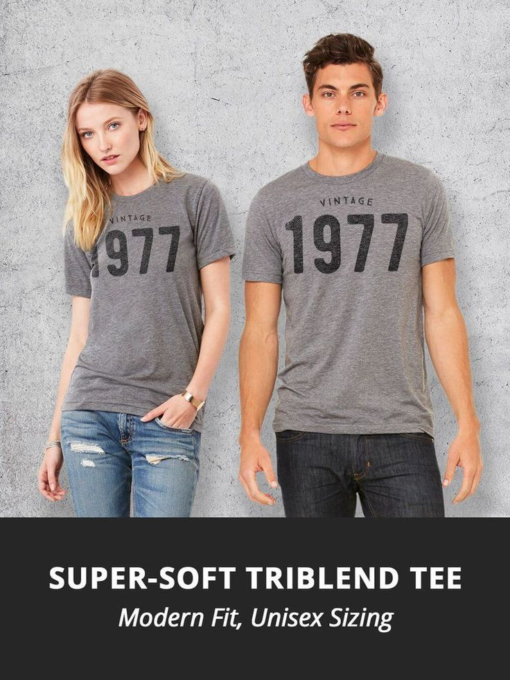 40th Birthday gift ideas! This unisex tees features the Vintage 1977 graphic pri...