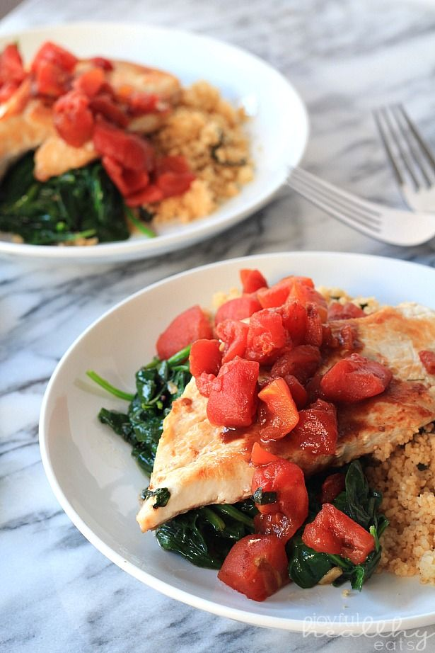 Drool-worthy Balsamic Chicken with Sautéed Garlic Spinach, a quick healthy 30 minute meal! | www.joyfulhealthyeats.com